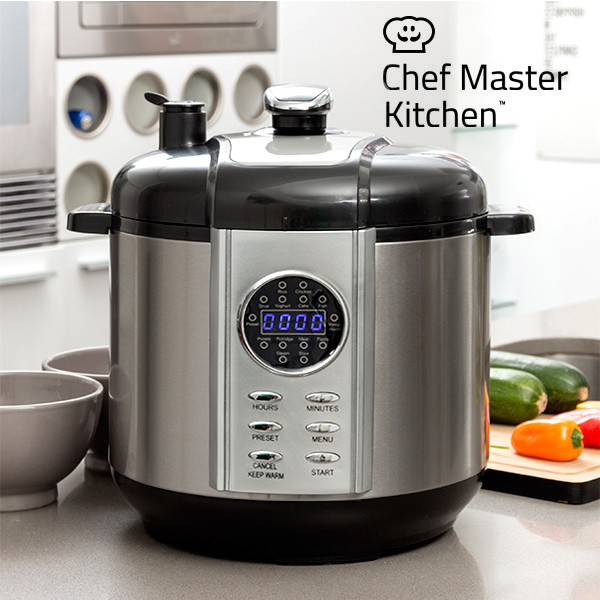 Food Processor Chef Master Kitchen Smart Pressure Cooker 5 L 1100W Black Steel